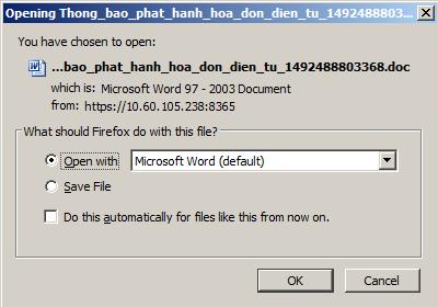 Cửa sổ tải file thông báo phát hành